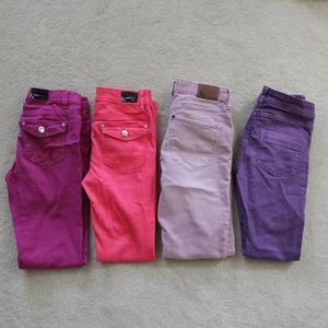 Lot of 4 Girl's Skinny Jeans Pink Purple size 12